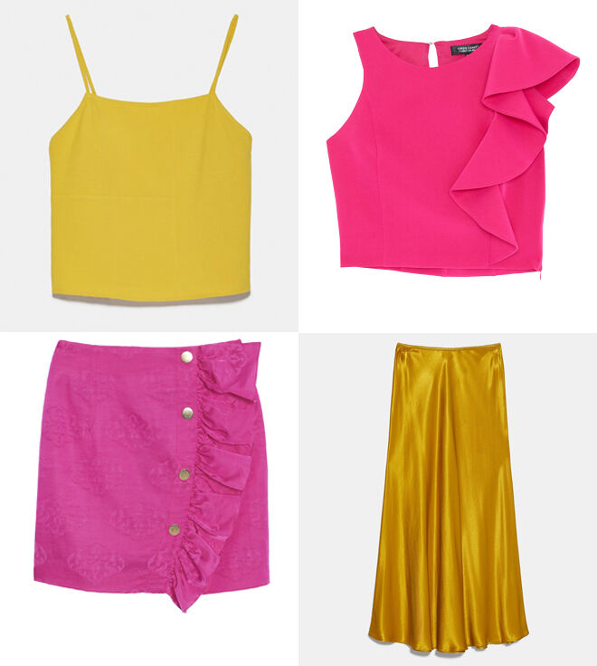 ZARA Camiseta amarilla. PVP: 12.95€ // GREEN COAST Top rosa. PVP: 39.99€ // SANDRO Falda rosa. PVP: 175€ // ZARA Falda larga dorada. PVP: 15.99€