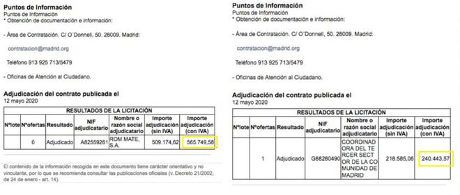 Los contratos de la polémica: a la izquierda el de Room Mate y a la derecha el de C2SM.