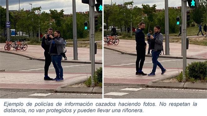 El documento incluye fotografías de presuntos policías de paisano, algo prohibido por ley