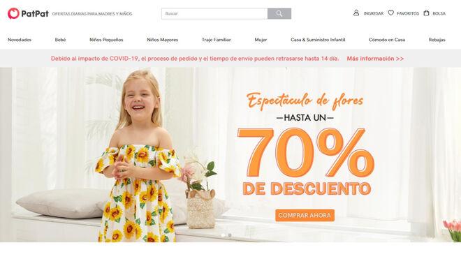 La página se especializa en moda infantil