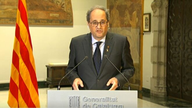 El presidente de la Generalitat, Quim Torra, durante una comparecencia.