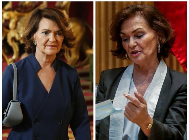 Carmen Calvo antes (izda) y después (dcha) de haber contraído el coronavirus