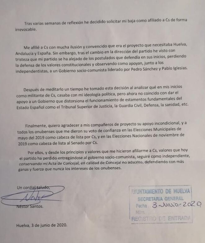 Carta de renuncia de Néstor Santos, concejal de Cs en Huelva.