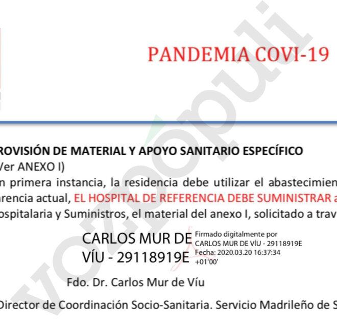 Firma electrónica de Carlos Mur de Víu en uno de los protocolos sanitarios.