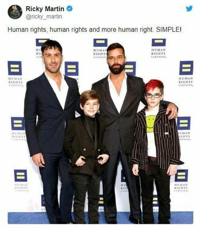 Ricky Martin, su marido y dos de sus hijos