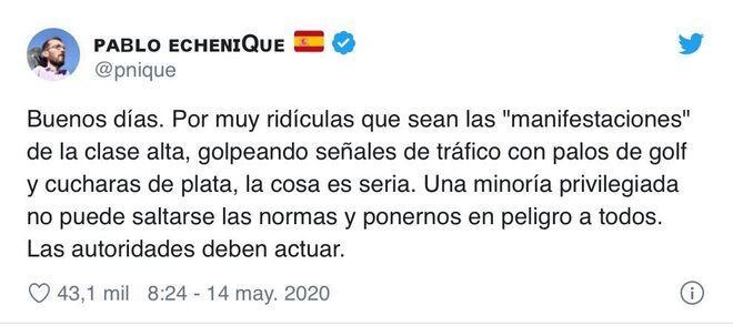 Tuit de Echenique contra las manifestaciones que comenzaron en Núñez de Balboa
