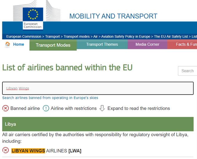 La aerolínea libia está en la lista negra de la Unión Europea