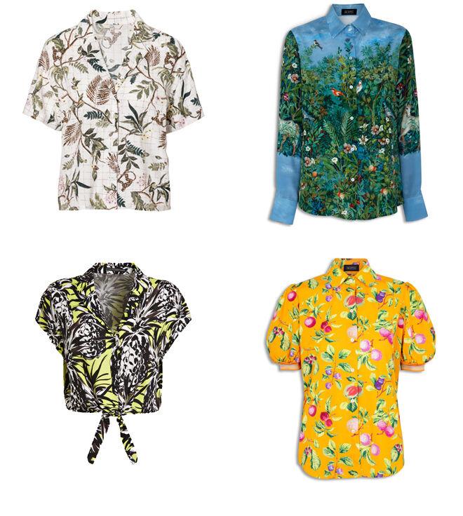 C&A Camisa blanca. PVP: 12.90€ // MIRTO Camisa azul con vegetación. PVP: 117.50€ // GUESS Camisa de piñas. PVP: 69.90€  // MIRTO Camisa amarilla. PVP: 79.50€