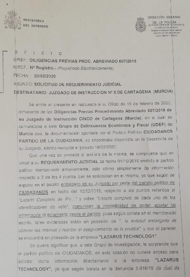 Escrito de la UDEF al juez instructor que investiga el posible pucherazo en Murcia.
