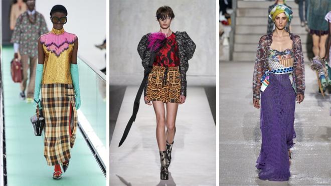 De izquierda a derecha, diseños de Gucci, Dries Van Noten y Missoni