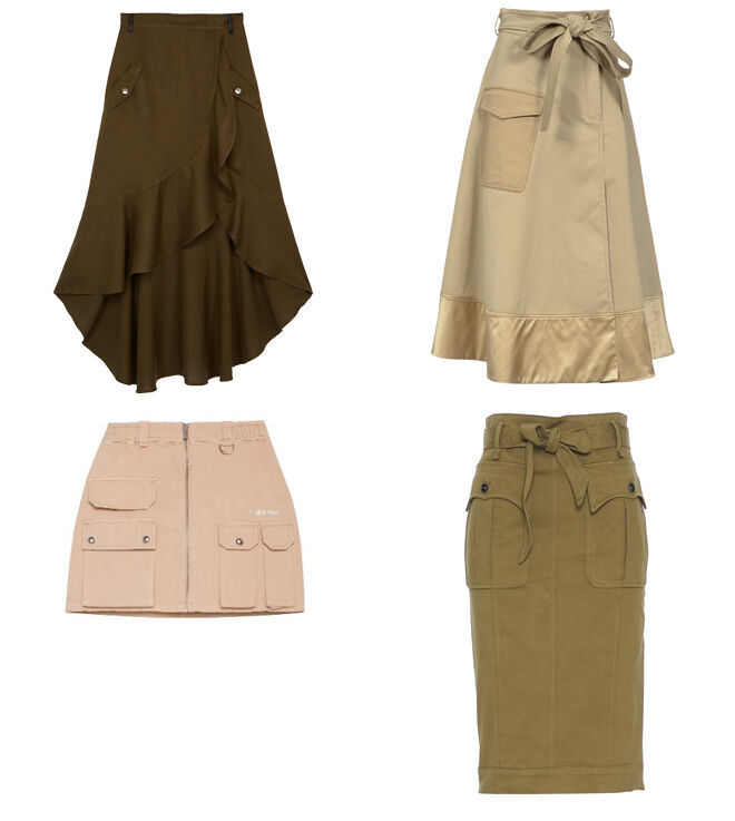 THE KOOPLES Falda asimétrica. PVP: 130.50€ // PINKO Falda con bolsillo. PVP: 138€ // BERSHKA Minifalda multibolsillos. PVP: 9.99€ // MANILA GRACE Falda entubada. PVP: 173€
