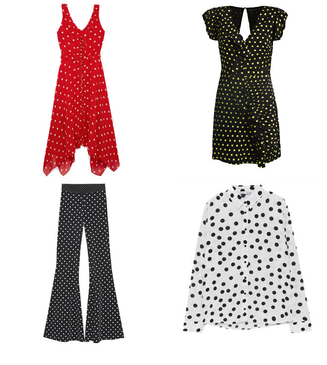 THE KOOPLES Vestido rojo. PVP: 298€ // GUESS Vestido negro. PVP: 119€ // BERSHKA Pantalón de campana. PVP: 25.99€ // LEFTIES Camisa blanca. PVP: 14.99€