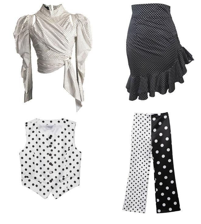 JC LAGARES Blusa blanca (PVP: 160€) y falda con volante (PVP: 140€) // GEORGES RECH Chaleco de lunares y pantalón con doble estampado. CPV