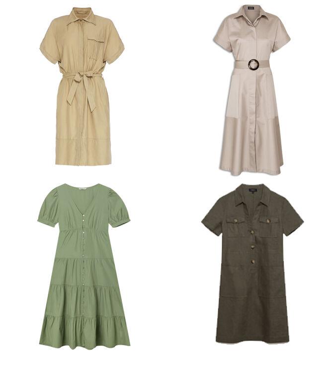 MANILA GRACE Vestido camisero. PVP: 179€ // MIRTO Vestido beige. PVP: 94.50€ // STRADIVARIUS Vestido verde. PVP: 25.99€ // CAROLL PARÍS Vestido caki. PVP: 79€