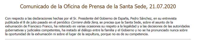 Nota de prensa de la Sanra Sede