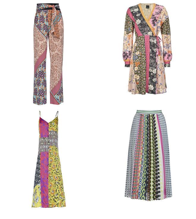 PINKO Pantalón estampado (PVP: 182€) y vestido cruzado (PVP: 137€) // MANILA GRACE Vestido de tirantes. PVP: 188€ // ANONYME DESIGNERS Falda plisada. PVP: 119€