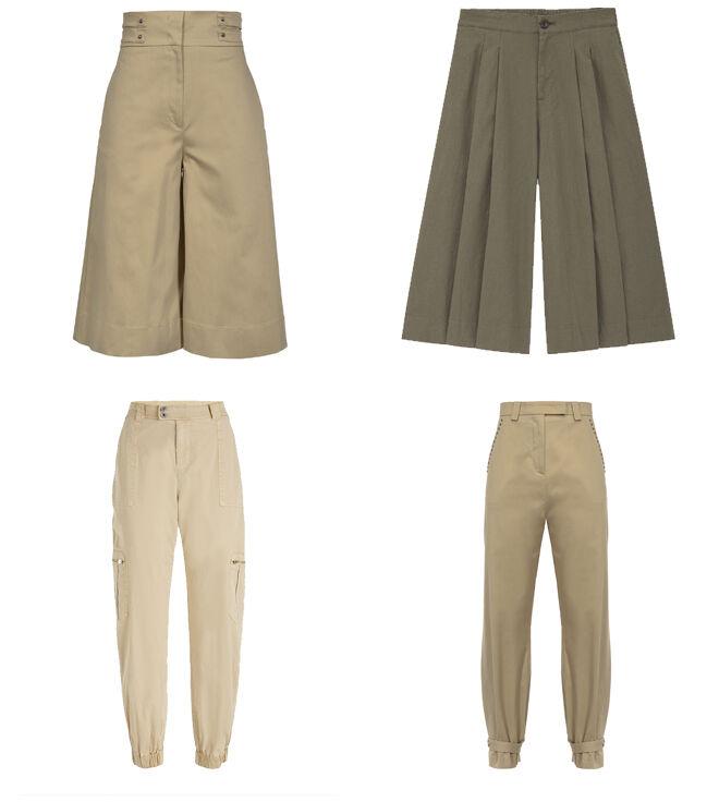 PINKO Pantalón beige corto. PVP: 90€ // UNIQLO Pantalón caki. PVP: 24.90€ // GUESS Pantalón bombacho. PVP: 53.50€ // PINKO Pantalón con tachuelas. PVP: 95€