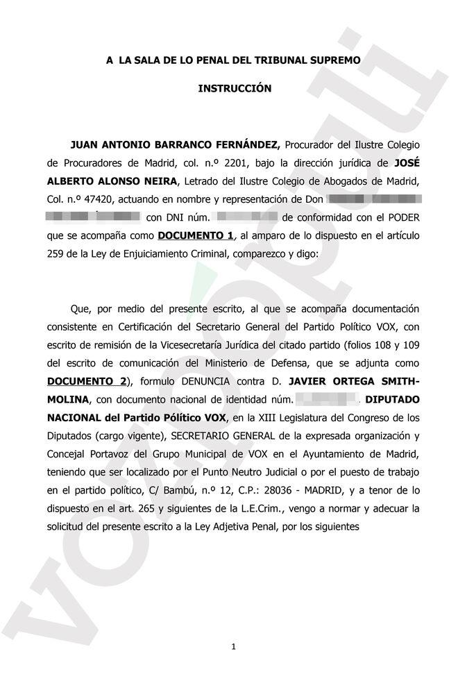 Primera página de la denuncia presentada en el Supremo contra Ortega-Smith.