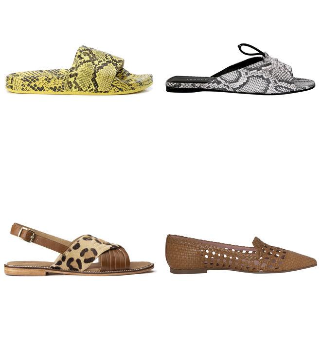 REFRESH Chancla amarilla. PVP: 19.95€ // LONGCHAMP Sandalia de pitón. PVP: 180€ // LA REDOUTE Sandalia de leopardo. PVP: 49.99€ // PRETTY BALLERINAS Zapato marrón. PVP: 199€