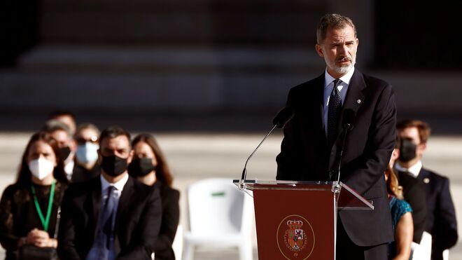 El Rey Felipe VI, durante su intervención en el homenaje de Estado a las víctimas del coronavirus.