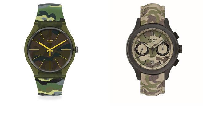 SWATCH Reloj estampado militar. PVP: 75€ // WEMPE Reloj de camuflaje. CPV