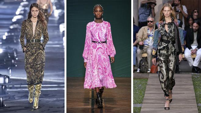 De izquierda a derecha, diseños de Saint Laurent, Andrew GN y Etro
