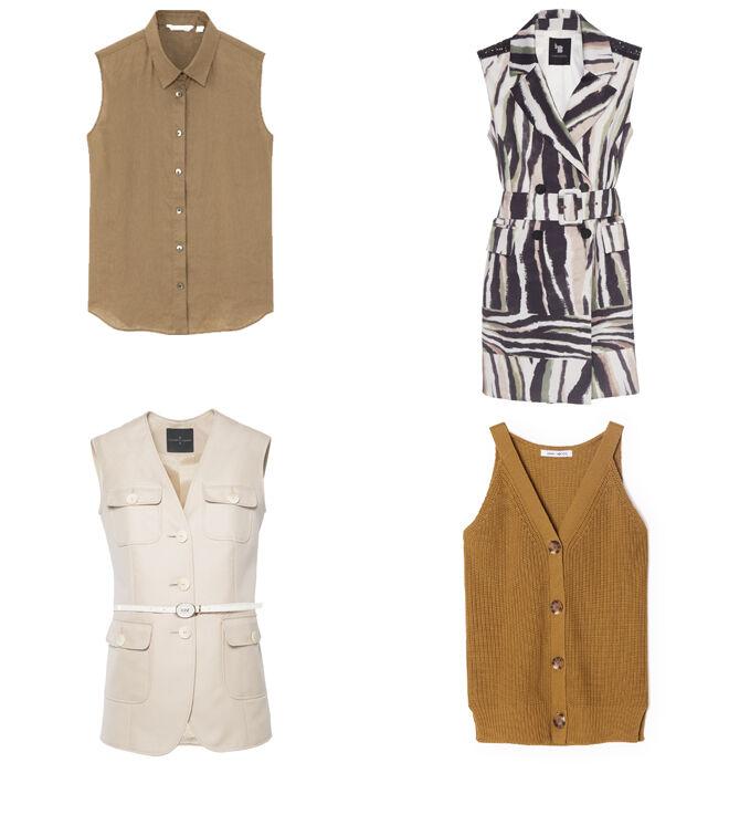 UNIQLO Camisa sin mangas marrón. PVP: 14.90€ // LAURA BERNAL Chaleco estampado. PVP: 197.50€ // ROBERTO VERINO Chaleco crudo. PVP: 220€ // VENCA Chaleco de punto. PVP: 19.99€