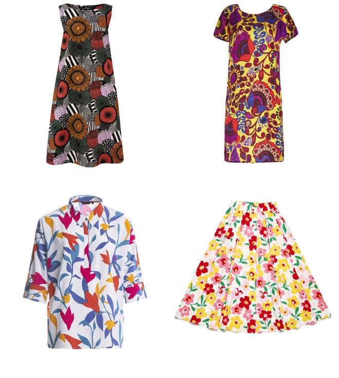 UNIQLO Vestido con estampado étnico. PVP: 39.90€ // MANILA GRACE Vestido amarillo con flores. PVP: 138€ // SALSA Blusa estampada. PVP: 49.95€ // BENETTON Falda de flores. PVP: 69.95€