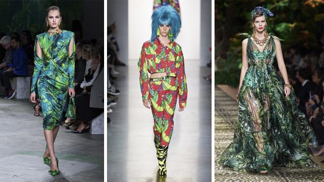 De izquierda a derecha, desfile de Versace, Jeremy Scott y Dolce & Gabbana