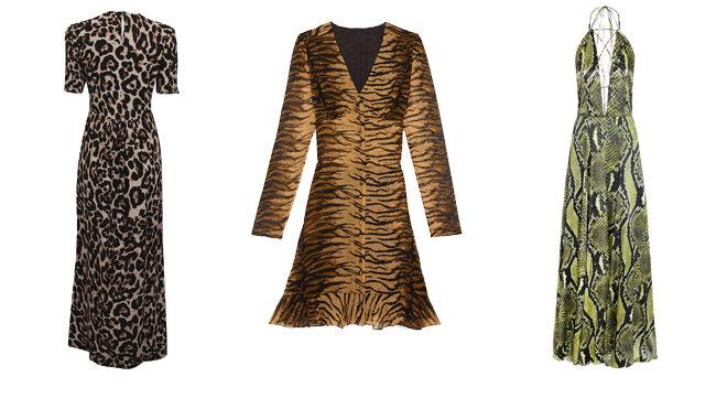 DENISH REVEAL Vestido de leopardo. PVP: 239€ // THE KOOPLES Vestido de tigre. PVP: 105€ // ADRIANA IGLESIAS Vestido con estampado de pitón. CPV