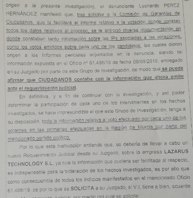 Otro fragmento del escrito de la UDEF al juez de Cartagena (Murcia).