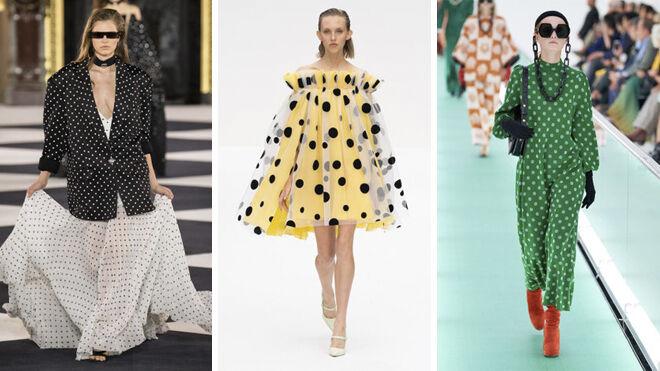 De izquierda a derecha, propuestas de Balmain, Carolina Herrera y Gucci