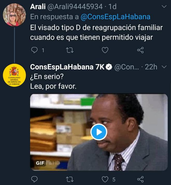 Una de las polémicas respuestas del consulado español en La Habana.