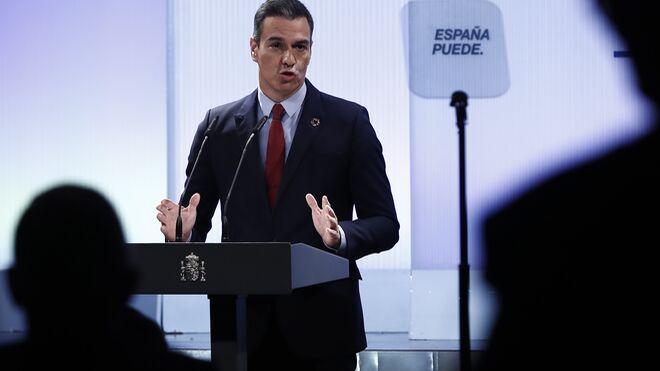 El presidente del Gobierno, Pedro Sánchez, durante la conferencia.