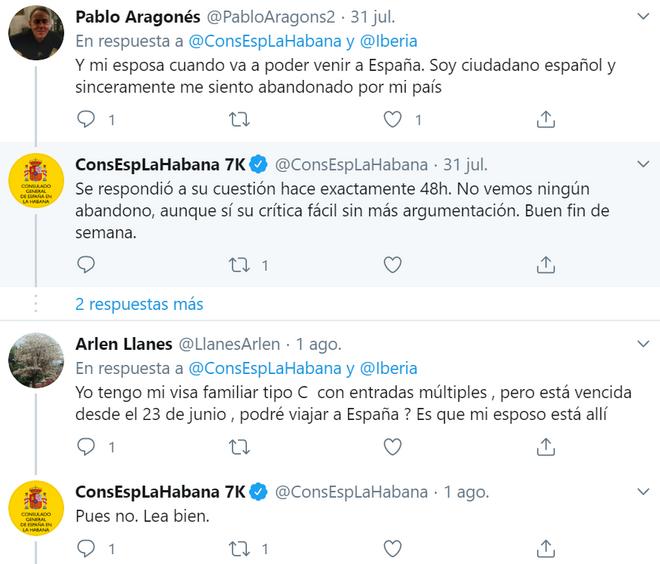 Otras respuestas del consulado español en La Habana.