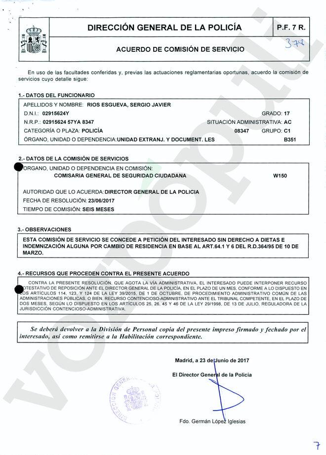 Acuerdo firmado por German López Iglesias