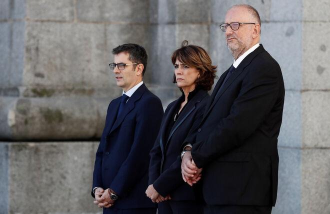 Dolores Delgado cuando era ministra del PSOE, el día de la exhumación de Franco