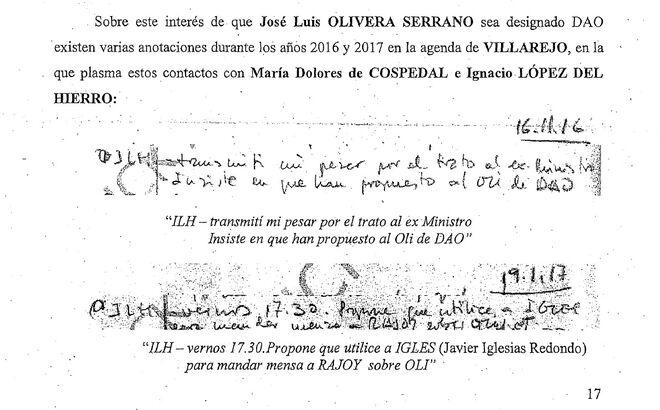 Extractos de la agenda de Villarejo