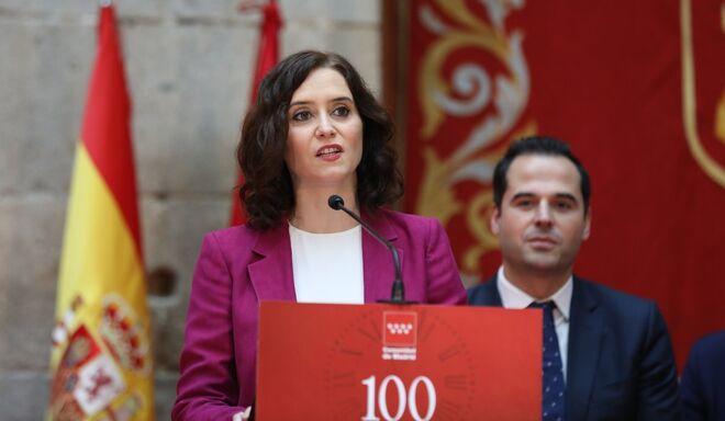 Isabel Díaz Ayuso e Ignacio Aguado en un acto de la Comunidad de Madrid.