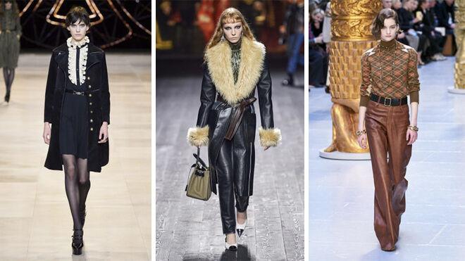 De izquierda a derecha, diseños de Celine, Louis Vuitton y Chloé