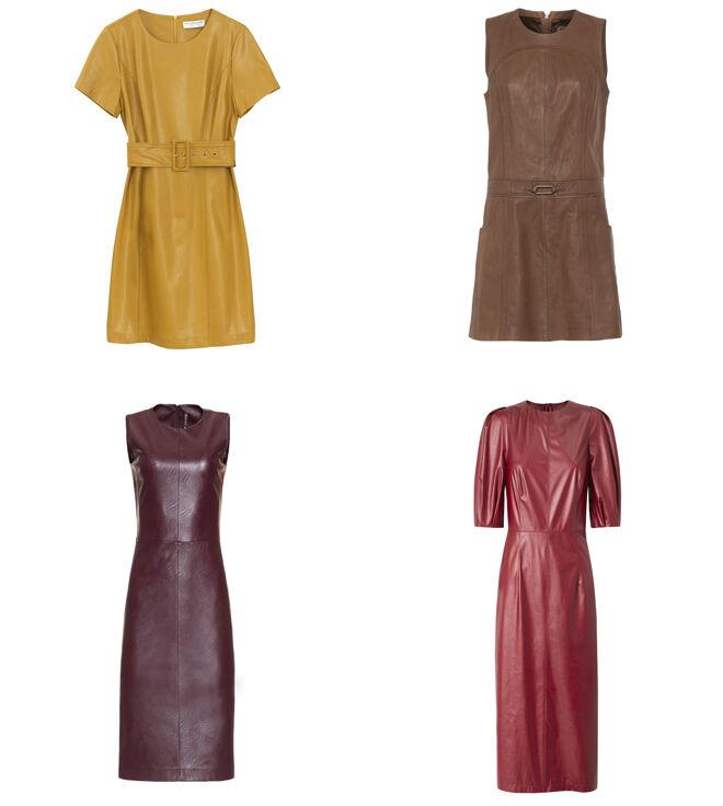 MOLLY BRACKEN Vestido mostaza. PVP: 99€ // PERCENTIL Vestido marrón. PVP: 117.45€ // MANILA GRACE Vestido burdeos sin mangas. PVP: 148€ // MANGO Vestido rojo. PVP: 49.99€