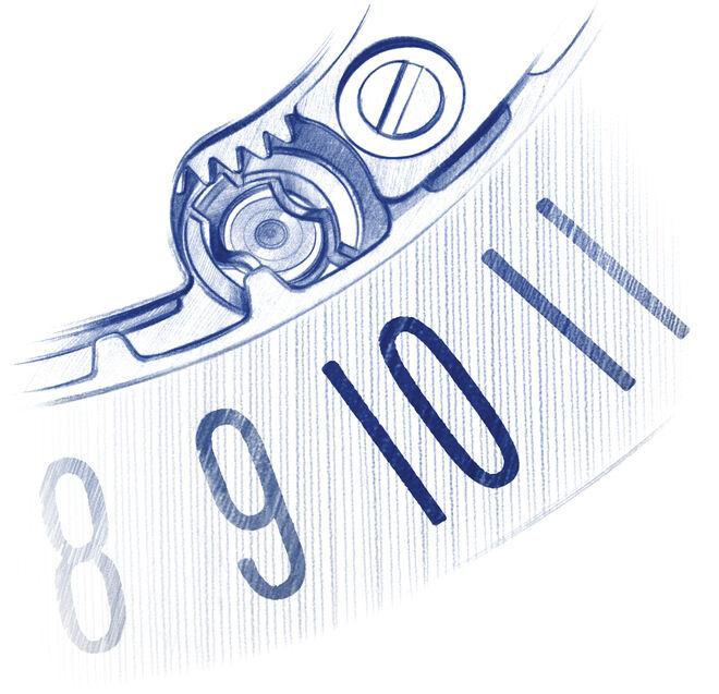 Boceto del disco de la fecha, en el que se ha aumentado el tamaño de los números