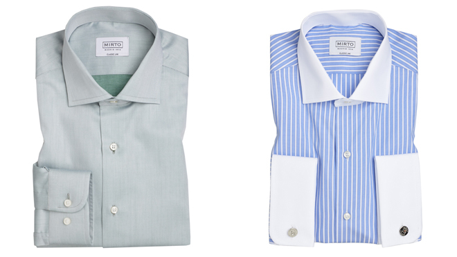 Camisa azul claro (PVP: 95.90) y camisa de rayas con cuellos y puños en blanco (PVP: 99€)