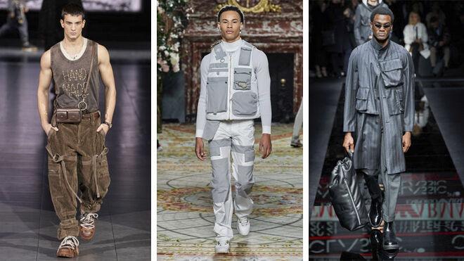 De izquierda a derecha: propuestas en los desfiles de Dolce & Gabbana, Casablanca y Emporio Armani