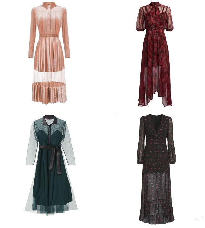 ELISABETTA FRANCHI Vestido rosa. PVP: 596€ // GUESS Vestido estampado rojo. PVP: 149.90€ // LOLITAS&L Vestido verde. PVP: 100€ // GUESS Vestido negro estampado. PVP: 149.90€