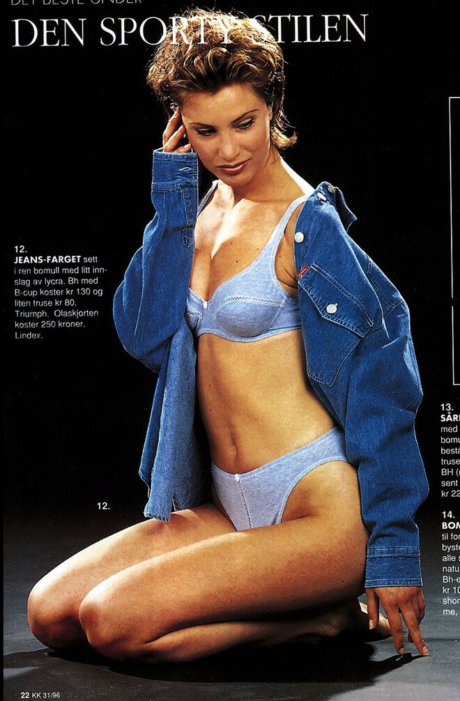 Eva Sannum en un catálogo de moda en 1999