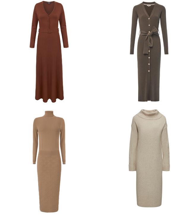 AMAZON FASHION Vestido marrón. PVP: 64.64€ // SALSA Vestido gris abotonado. PVP: 79.95€ // ELISABETTA FRANCHI Vestido con cuello vuelto. PVP: 522€ // ESPRIT Vestido con cuello abierto. PVP: 79.99€
