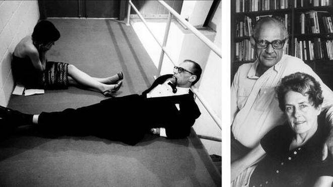 A la izda., Arthur Miller e Inge Morath,  en el backstate del Lincoln Center Repertory en el estreno de 'Después de la caída' (1964). A su lado, la pareja años después.