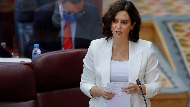 Isabel Díaz Ayuso, en el debate de este jueves en la Asamblea de Madrid.