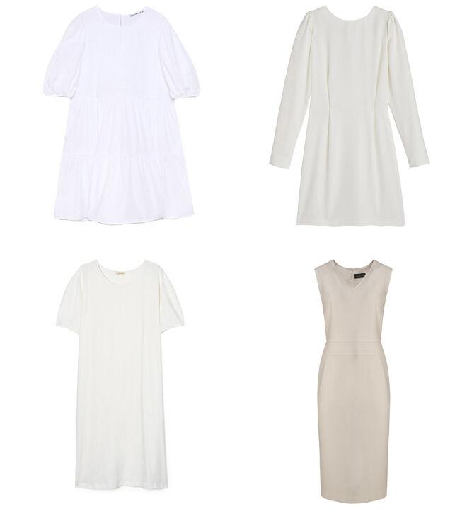 LEFTIES Vestido abullonado. PVP: 15.99€ // LA REDOUTE Vestido de manga larga. PVP: 49.99€ // AMERICAN VINTAGE Vestido de algodón blanco. PVP: 85€ // ROBERTO VERINO Vestido ceñido. PVP: 250€